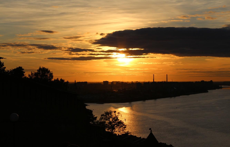 Photo wallpaper the sky, the sun, sunset, the city