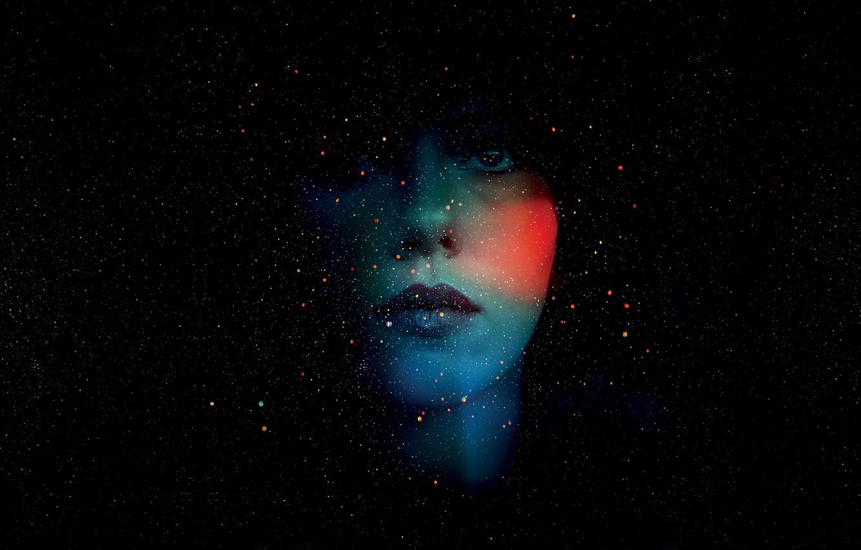 Photo wallpaper drops, color, portrait, stars, Scarlett Johansson, silhouette, placer