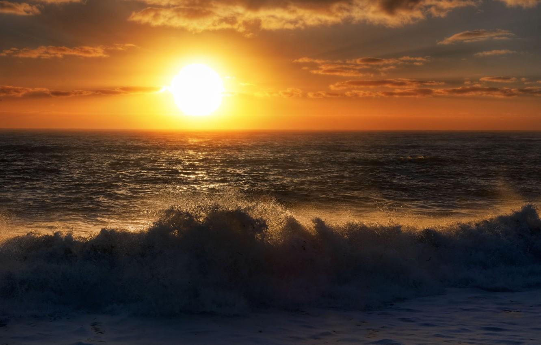 Photo wallpaper sea, the sky, sunset, surf