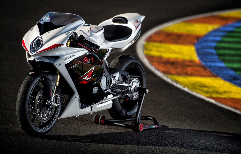 Photo wallpaper white, motorcycle, white, Supersport, track, MV Agusta