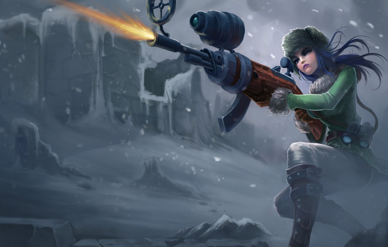 Wallpaper winter girl snow weapons shooting league of legends