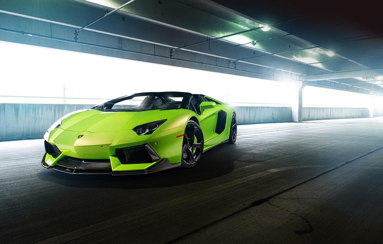 Photo wallpaper car, green, tuning, lamborghini, supercar, tuning, aventador, vorsteiner, aventador, aventador-v, lp-740