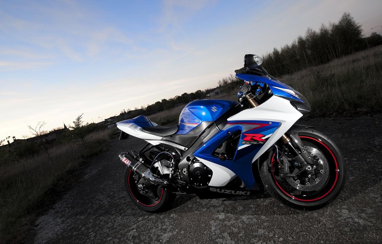 Photo wallpaper the sky, clouds, blue, motorcycle, suzuki, bike, blue, Suzuki, gsx-r1000