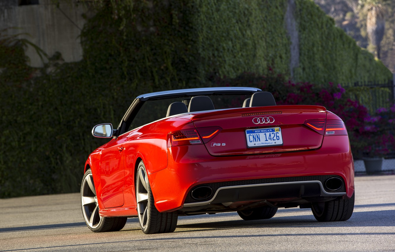 Photo wallpaper red, Audi, Audi, red, convertible, RS5, cabriolet