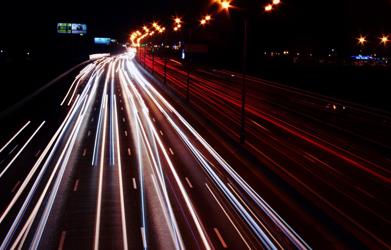 Photo wallpaper road, the city, lights, night city, night road