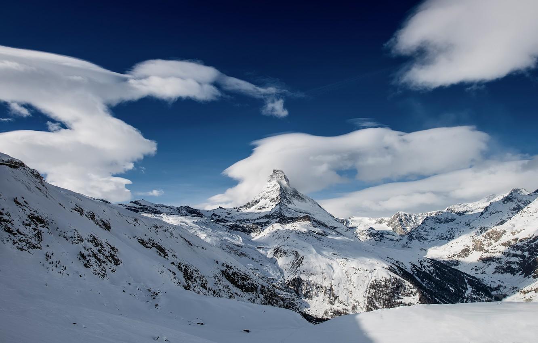 Photo wallpaper winter, snow, mountains, Switzerland