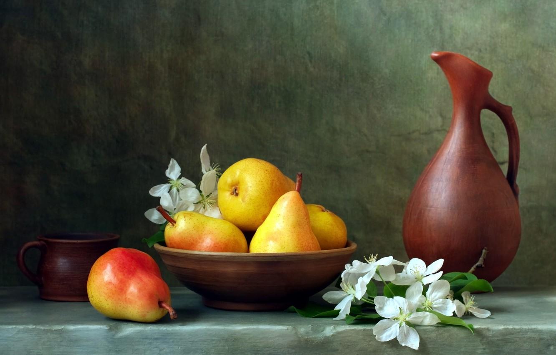 Photo wallpaper bowl, mug, pitcher, flowers, pear