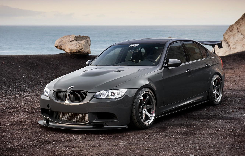 Photo wallpaper sea, BMW, BMW, black, 335i, rock, E90, 3 Series