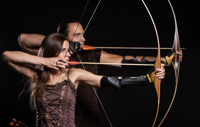 Photo wallpaper woman, man, arrows, archery