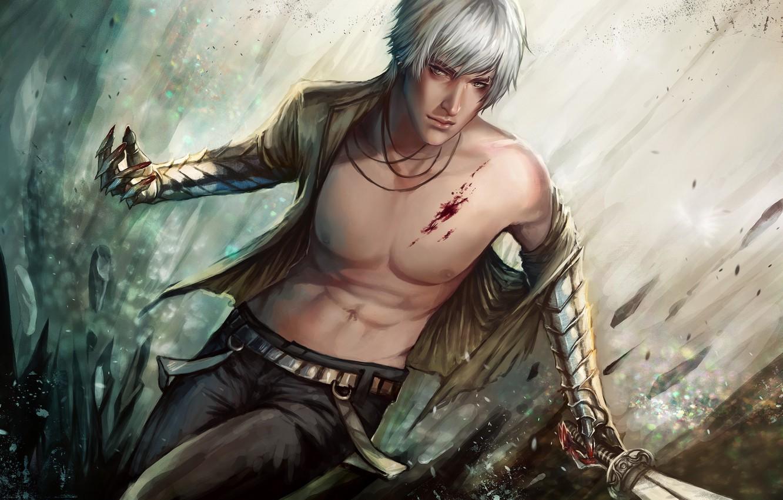 Photo wallpaper metal, weapons, blood, sword, art, guy, wound