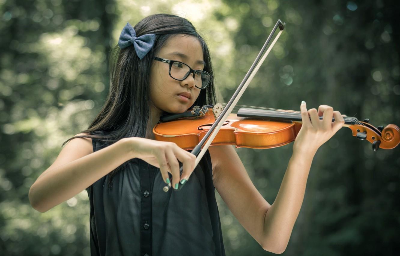 Photo wallpaper music, violin, girl