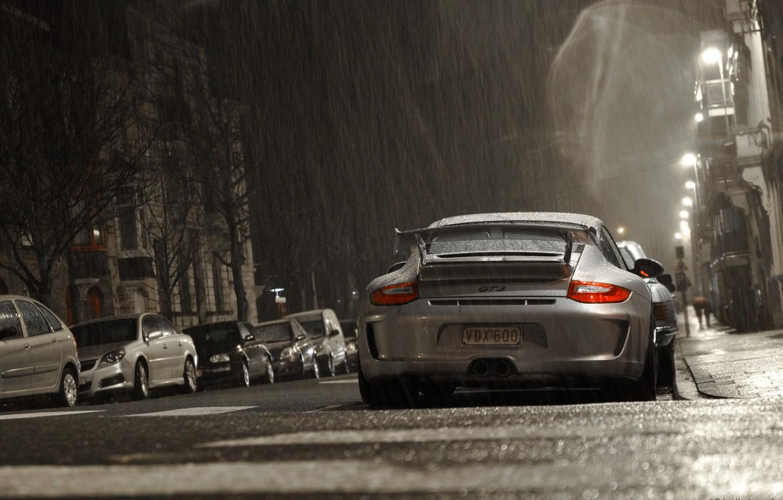 Photo wallpaper grey, rain, Porsche, Porsche, gt3