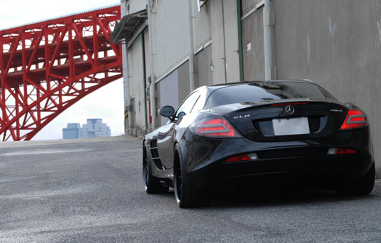 Photo wallpaper pipe, wall, black, gate, black, Mercedes Benz, SLR McLaren, back, Mercedes Benz, SLR McLaren