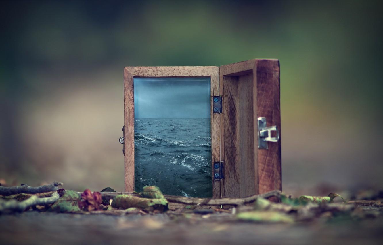 Photo wallpaper Water, Bokeh, Box, Surreal