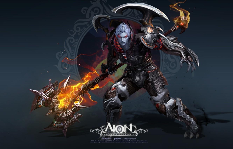 Photo wallpaper fire, warrior, AION, halberd