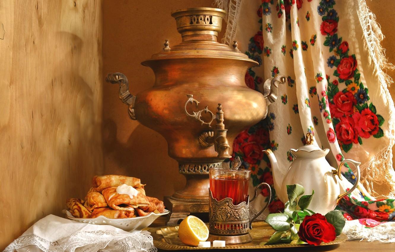 Photo wallpaper lemon, tea, rose, kettle, still life, samovar, pancakes, shawl, ethno, Carnival