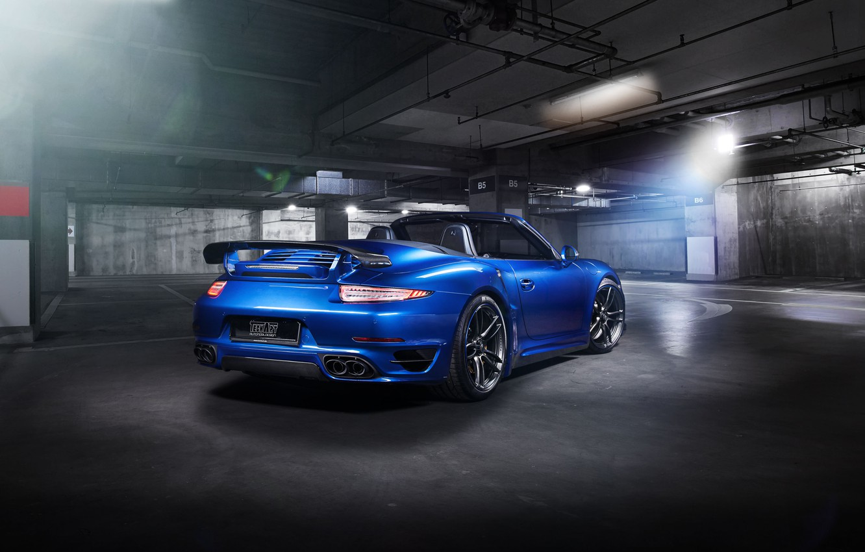 Photo wallpaper blue, 911, Porsche, convertible, Porsche, Turbo, Cabriolet, turbo, TechArt