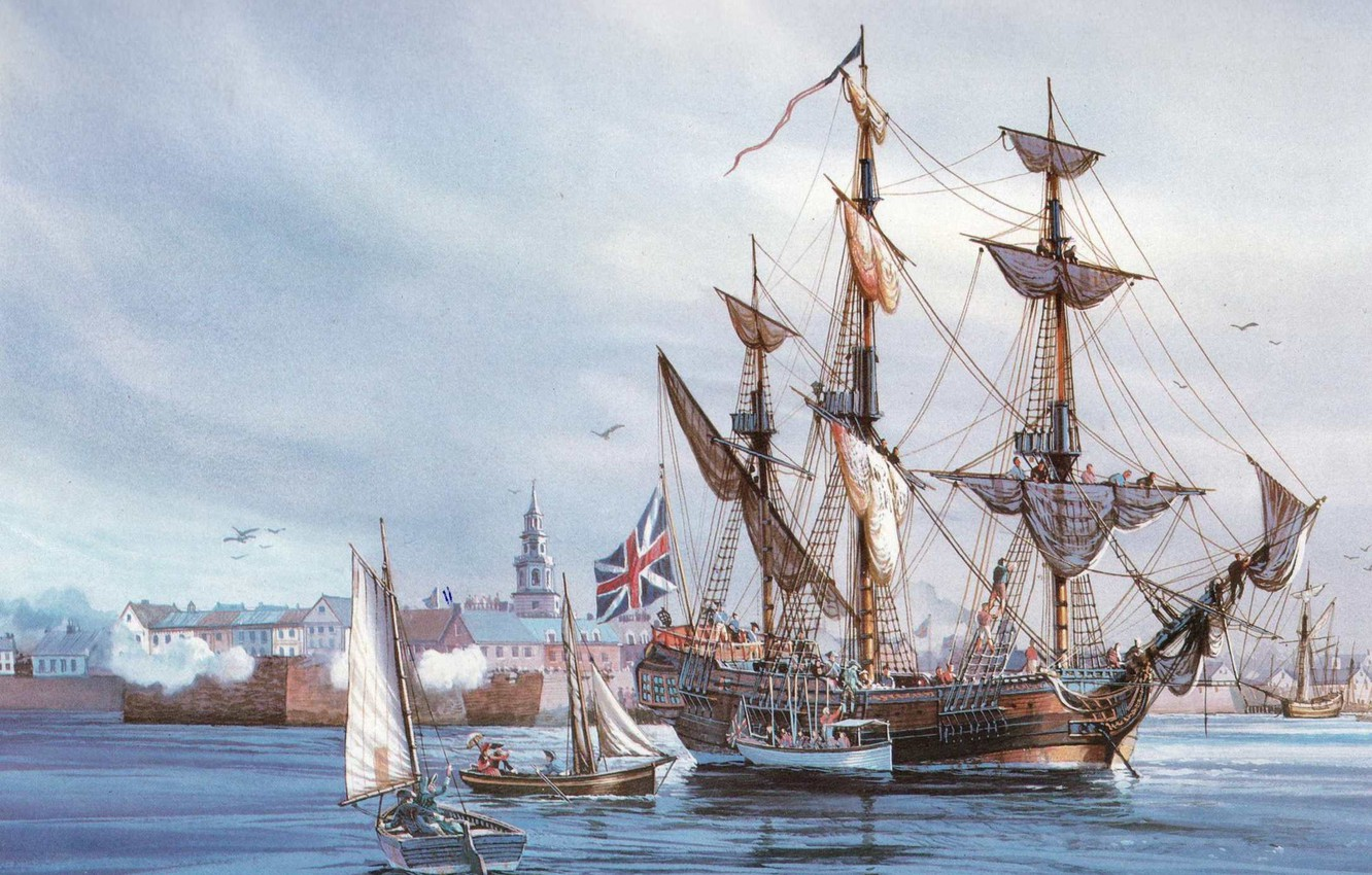 Photo wallpaper building, oil, picture, boats, port, sails, Fort, canvas, sea, rigging, waters, three-masted, ship-sailboat, sailors, a …