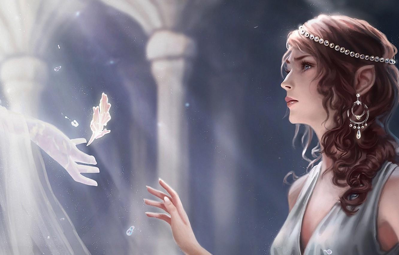 Photo wallpaper girl, light, decoration, sheet, hand, spirit, fantasy, art