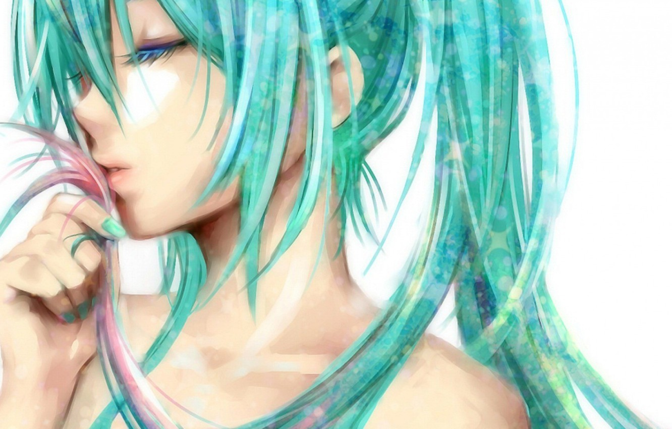 Photo wallpaper girl, anime, Hatsune Miku, long hair, Vocaloid