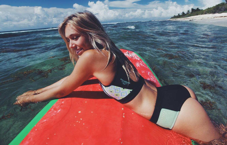 Photo wallpaper sea, beach, girl, smile, Board, beautiful, Alexis Ren