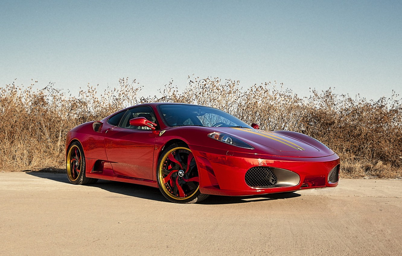 Photo wallpaper red, tuning, F430, supercar, ferrari, chrome, the front, RED, Chrome