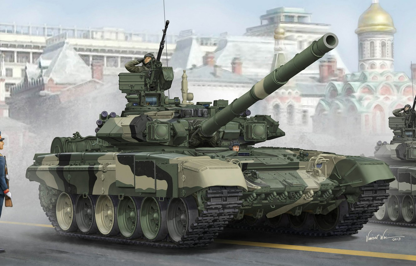 Photo wallpaper background, art, tank, Moscow, Temple, Red square, Russian, caliber, MBT, 125 mm, T-90A, Victory Parade, …