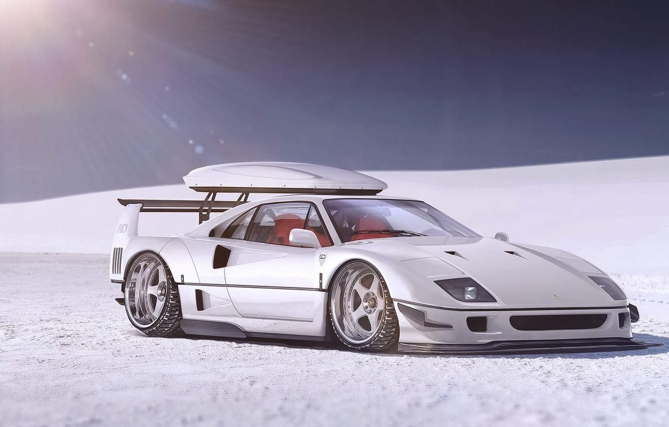 Photo wallpaper Ferrari, F40, Front, Snow, White, Supercar, Autemo