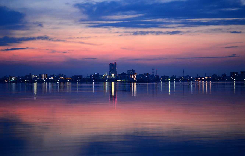 Photo wallpaper night, the city, lights, lake, reflection, home