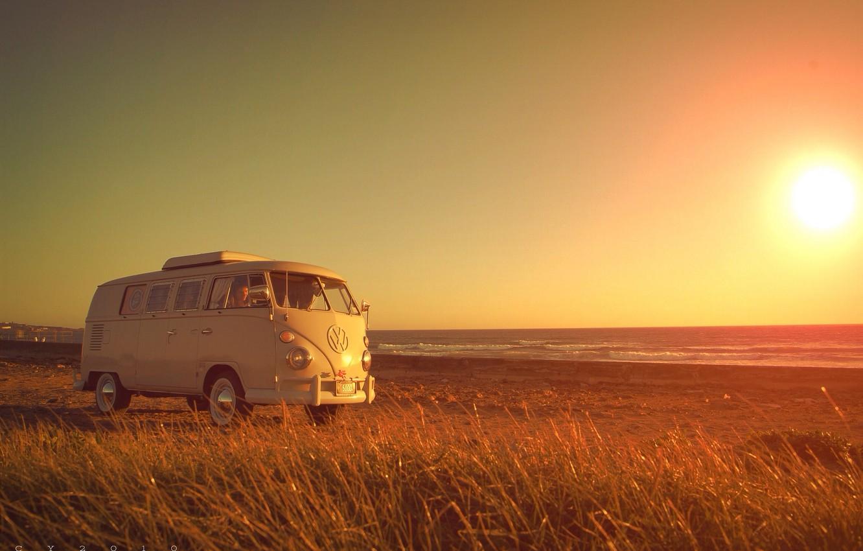 Photo wallpaper beach, grass, girl, Volkswagen, solar, Volkswagen Transporter