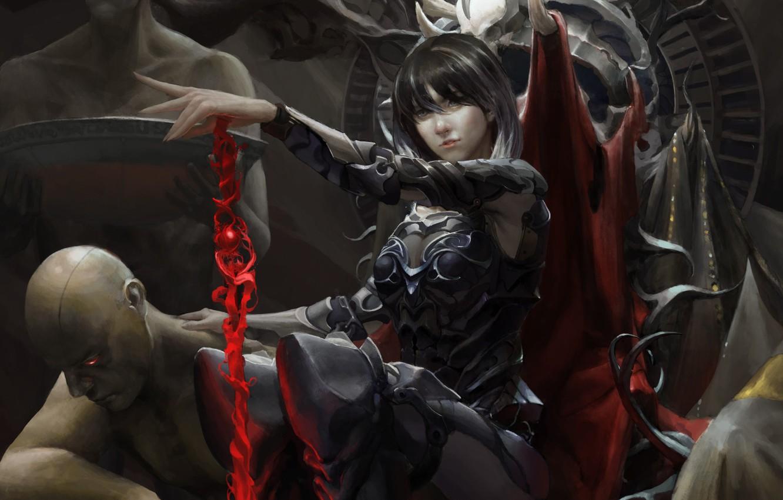 Photo wallpaper look, art, demoness, the throne, servants