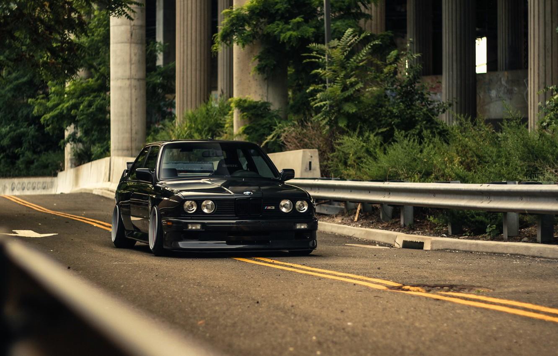 Photo wallpaper BMW, Black, Coupe, E30