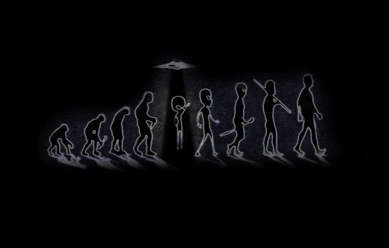Photo wallpaper people, UFO, monkey, Evolution, origin