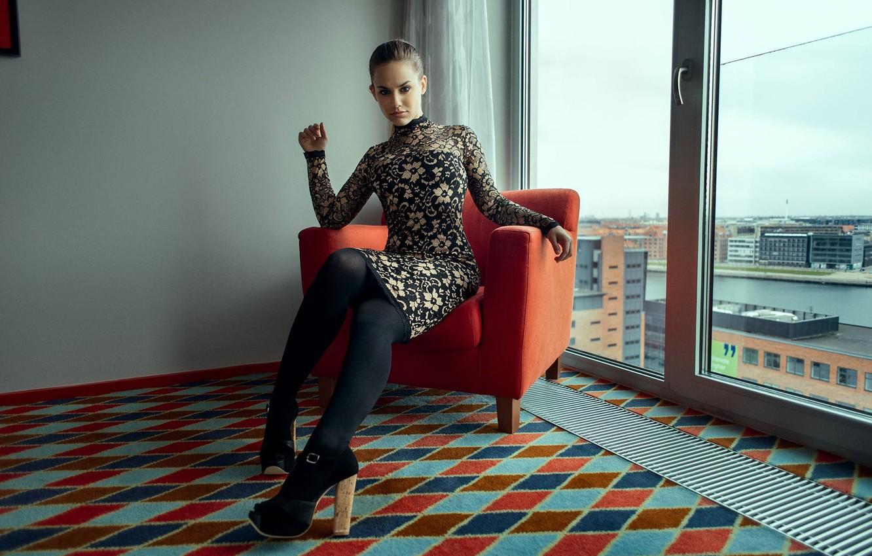 Photo wallpaper girl, chair, dress, shoes, tights, girl, Nathan Photography, Tonny Jorgensen, Sarah Salomonsen