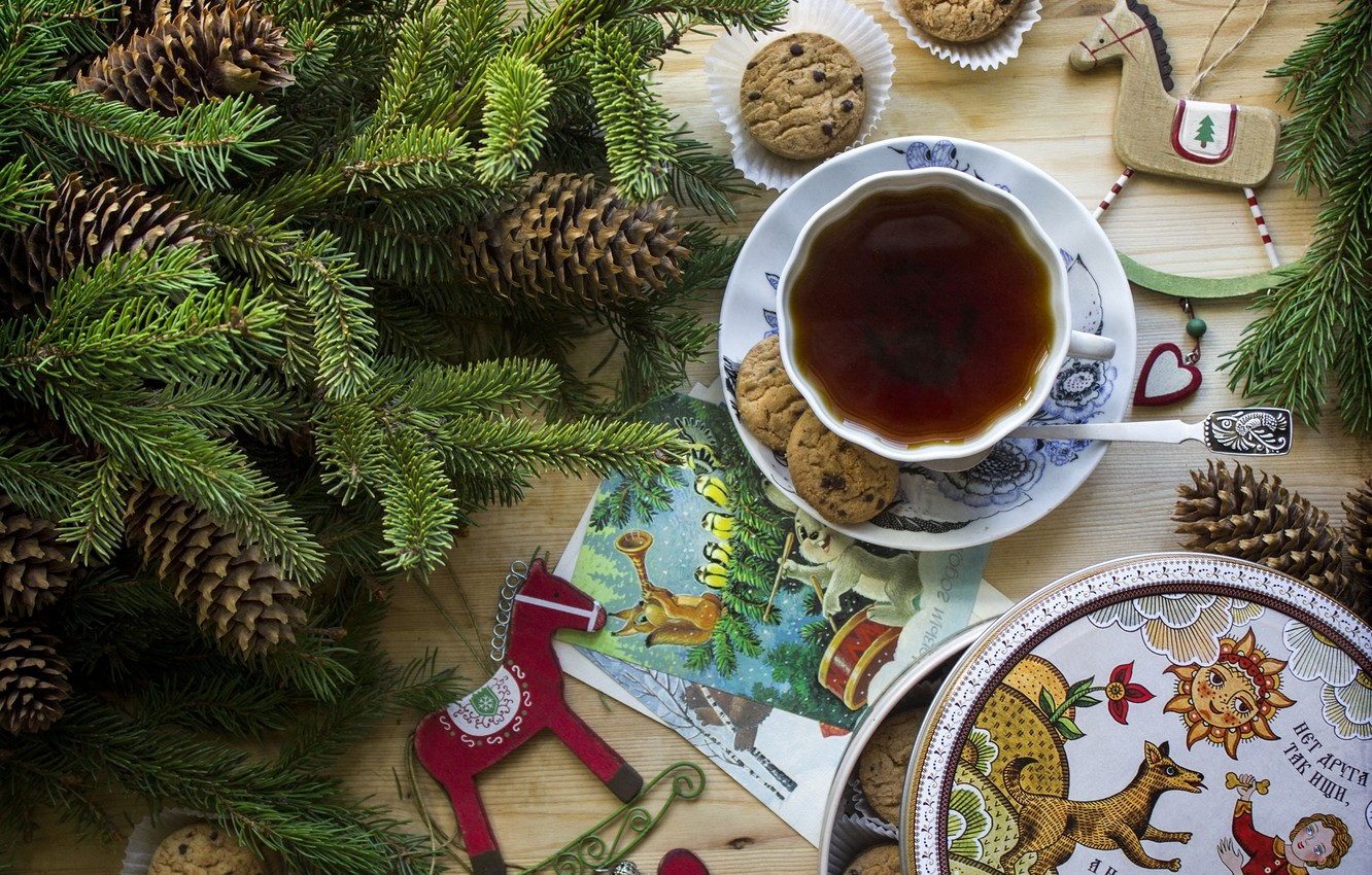 Photo wallpaper tea, horse, toys, spruce, cookies, Cup, bumps