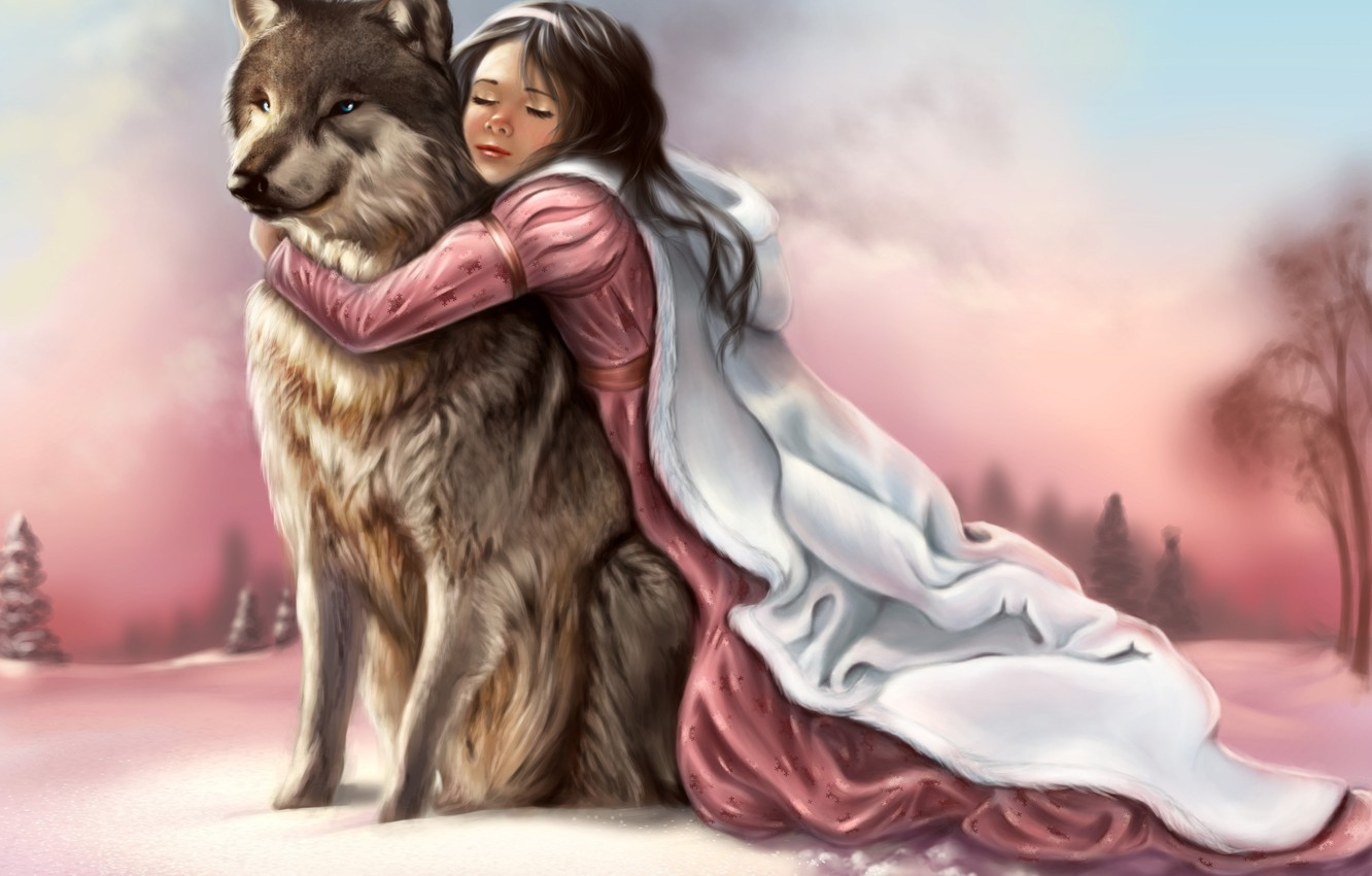 Photo wallpaper winter, the sky, look, face, girl, snow, traces, face, animal, wolf, predator, paws, hands, art, …