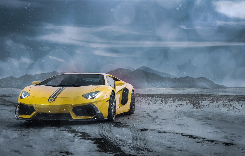 Photo wallpaper Lamborghini, Clouds, Front, Snow, Yellow, LP700-4, Aventador, Supercars, Mountains, Wheels, ADV.1, Ligth