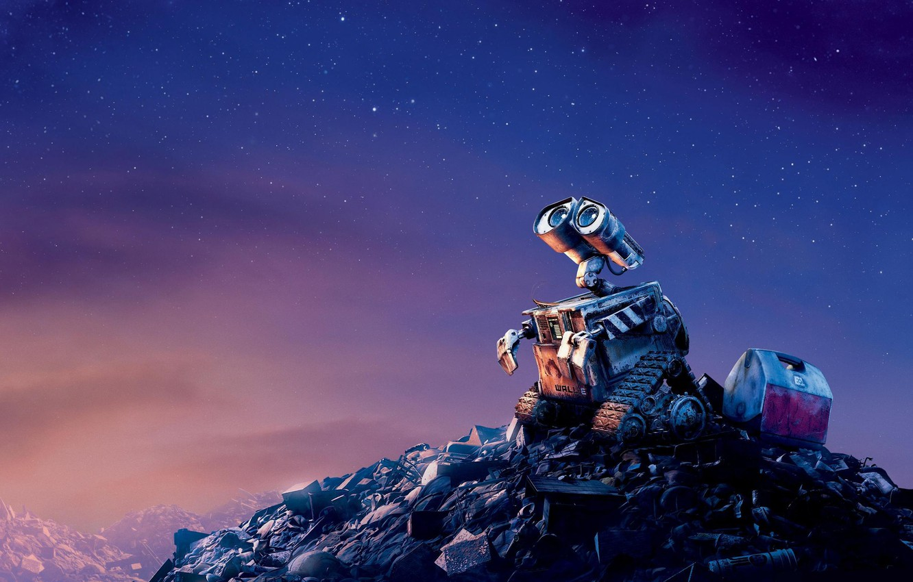 Photo wallpaper sadness, the sky, stars, garbage, the film, cartoon, the evening, wall-e, valley, scrap