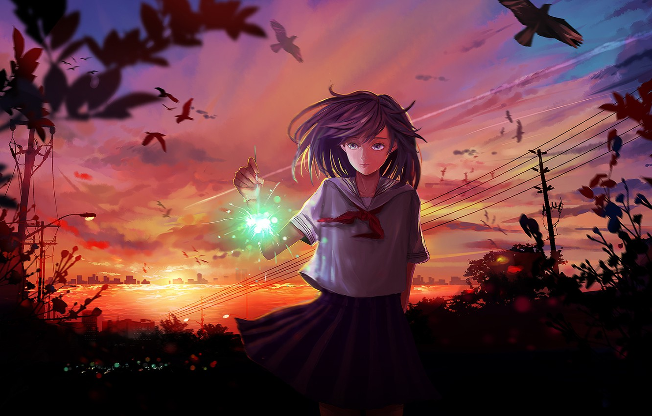 Photo wallpaper the sky, girl, clouds, sunset, birds, the city, wire, anime, art, form, schoolgirl, sparklers, mikan