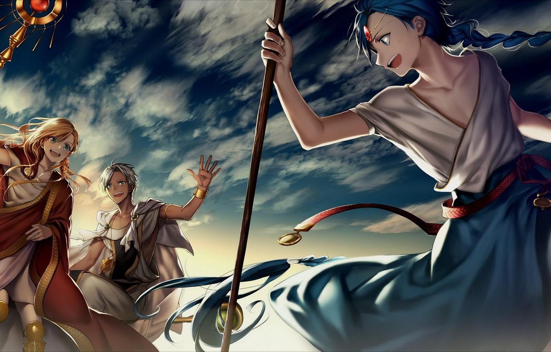 Wallpaper The Sky Anime Art Guys Magi The Labyrinth Of Magic