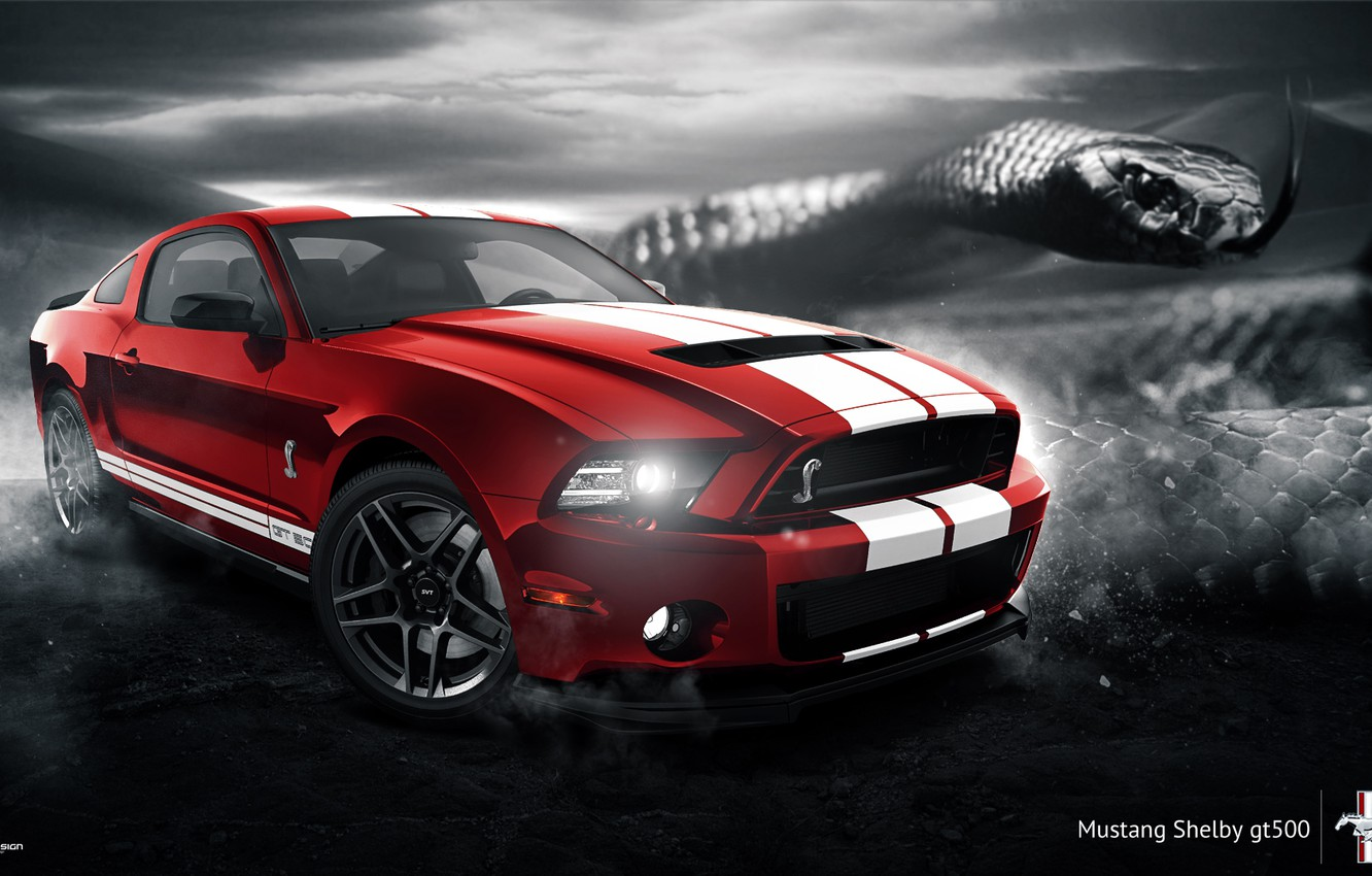 Photo wallpaper Mustang, Ford, Shelby, GT500, Muscle, Red, Car, Snake, 2014