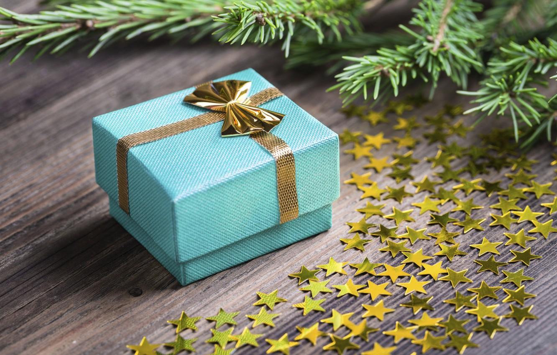 Photo wallpaper gift, New Year, stars, Merry Cristmas, gift, decoration