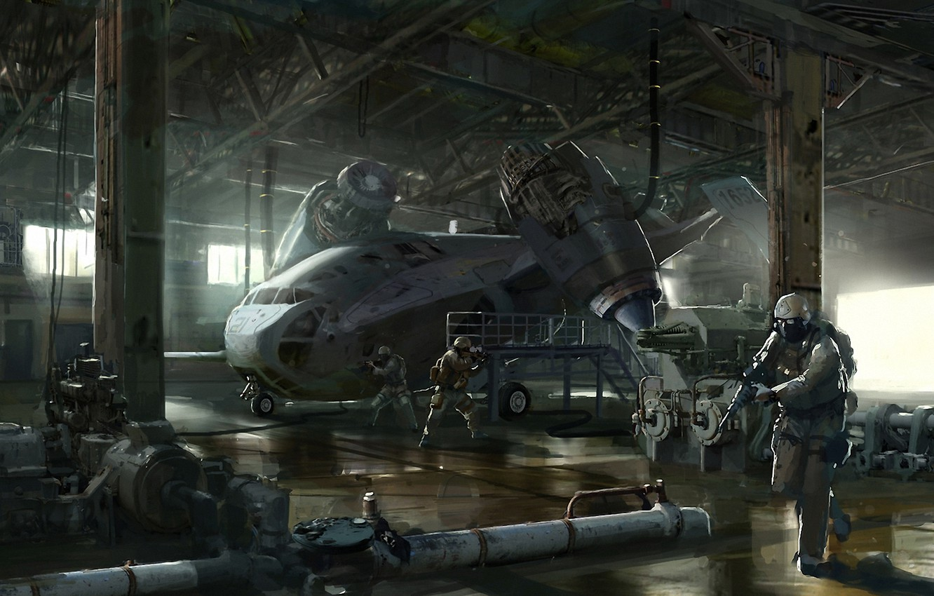 Photo wallpaper the plane, weapons, transport, ship, art, hangar, soldiers