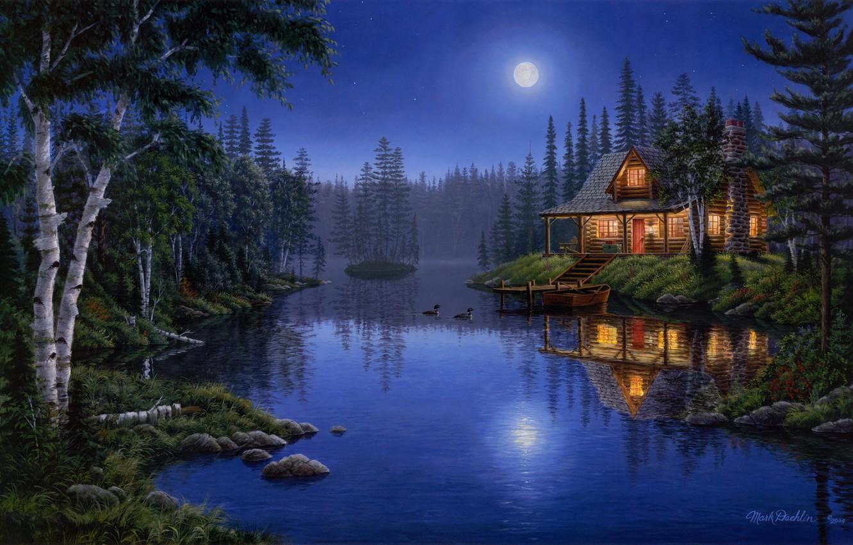 Photo wallpaper light, moon, house, forest, night, lake, painting, moonlight, Mark Daehlin, ducks, Moonlight Serenade