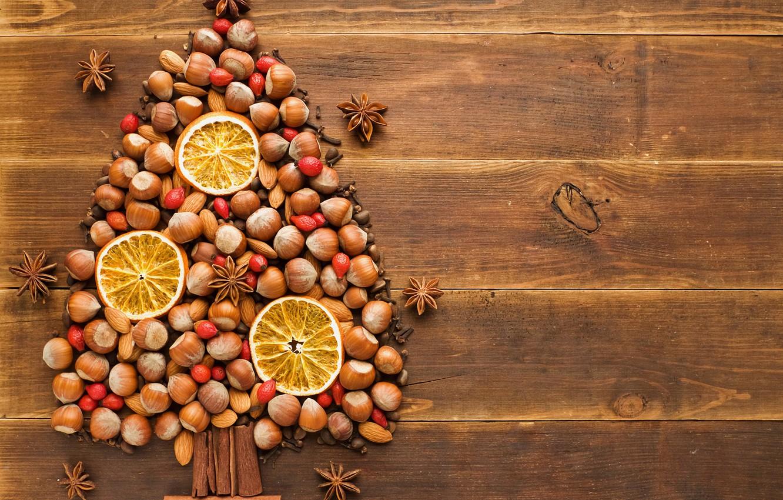 Photo wallpaper winter, table, tree, holiday, tree, orange, New Year, briar, Christmas, tree, nuts, cinnamon, Christmas, carnation, …