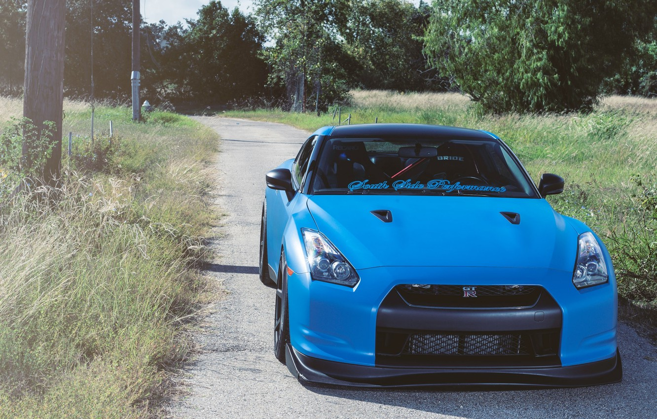 Photo wallpaper road, grass, trees, posts, nissan, road, Nissan, blue, gtr, the front, gtr, r35