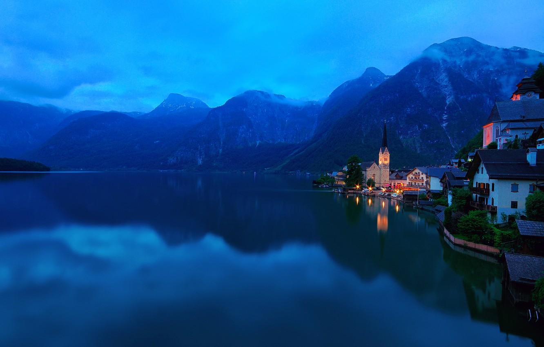 Photo wallpaper mountains, the city, lake, Austria, Alps, Salzkammergut, Hallstatt, municipality