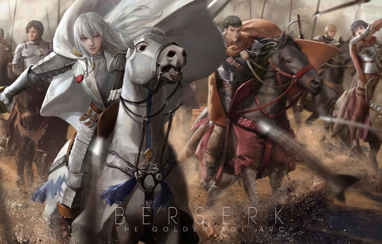 Photo wallpaper horse, art, guys, warriors, Berserker, Berserk