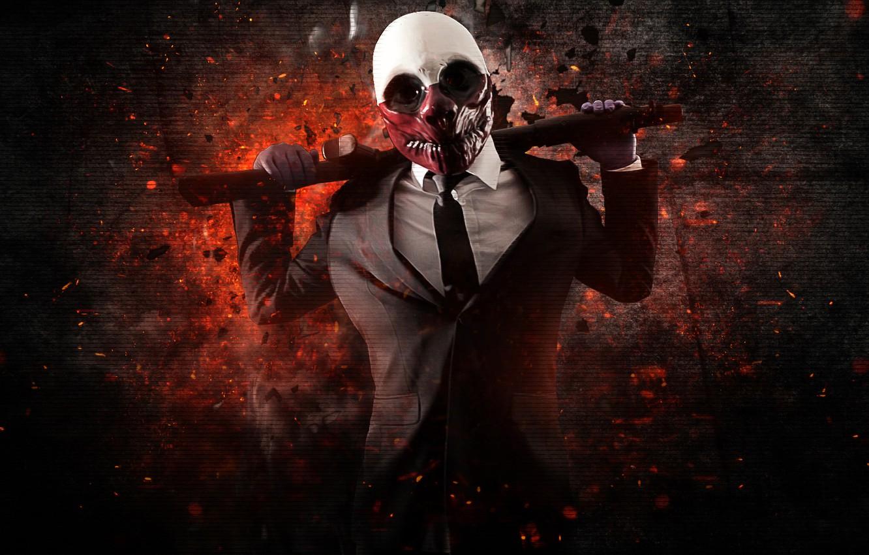 Photo wallpaper Wolf, Game, Background, Weapon, Money, Mask, Shotgun,
