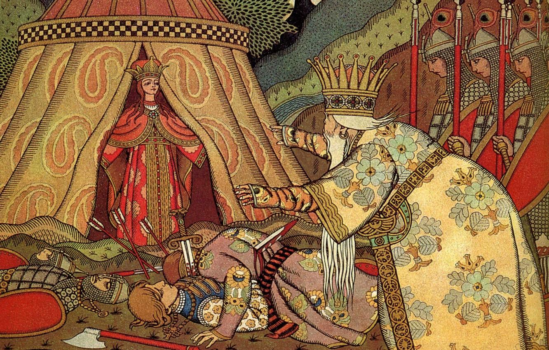 Photo wallpaper sword, crown, the battle, Bilibin Ivan Yakovlevich (1876-1942), Tsar Dadon, before Shamahanskaya Queen